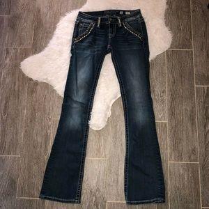 Miss Me Womens Signature Boot Cut Jeans Blue Mediu